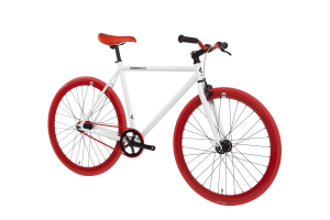 FabricBike Fixed Gear Bike - White / Red-2814