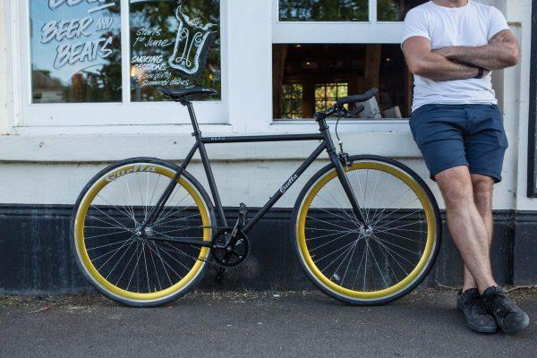 Quella Fixed Gear Bike Nero - Gold-6973